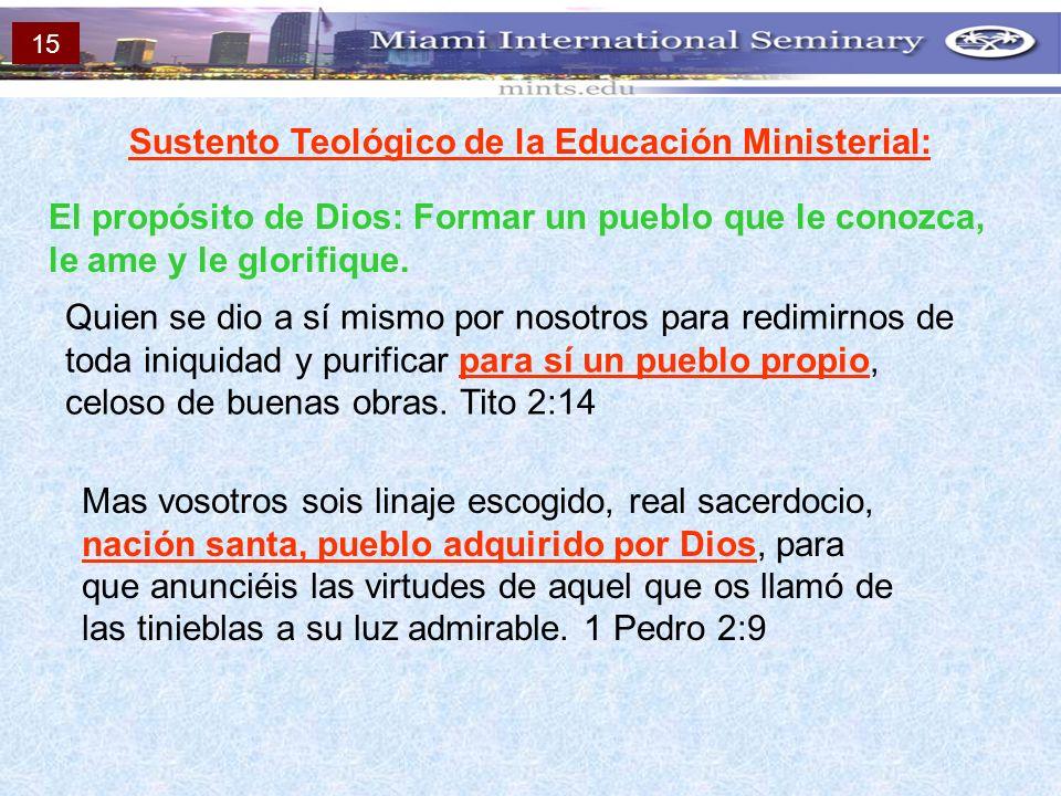 Sustento Teológico de la Educación Ministerial: El propósito de Dios: Formar un pueblo que le conozca, le ame y le glorifique. Quien se dio a sí mismo