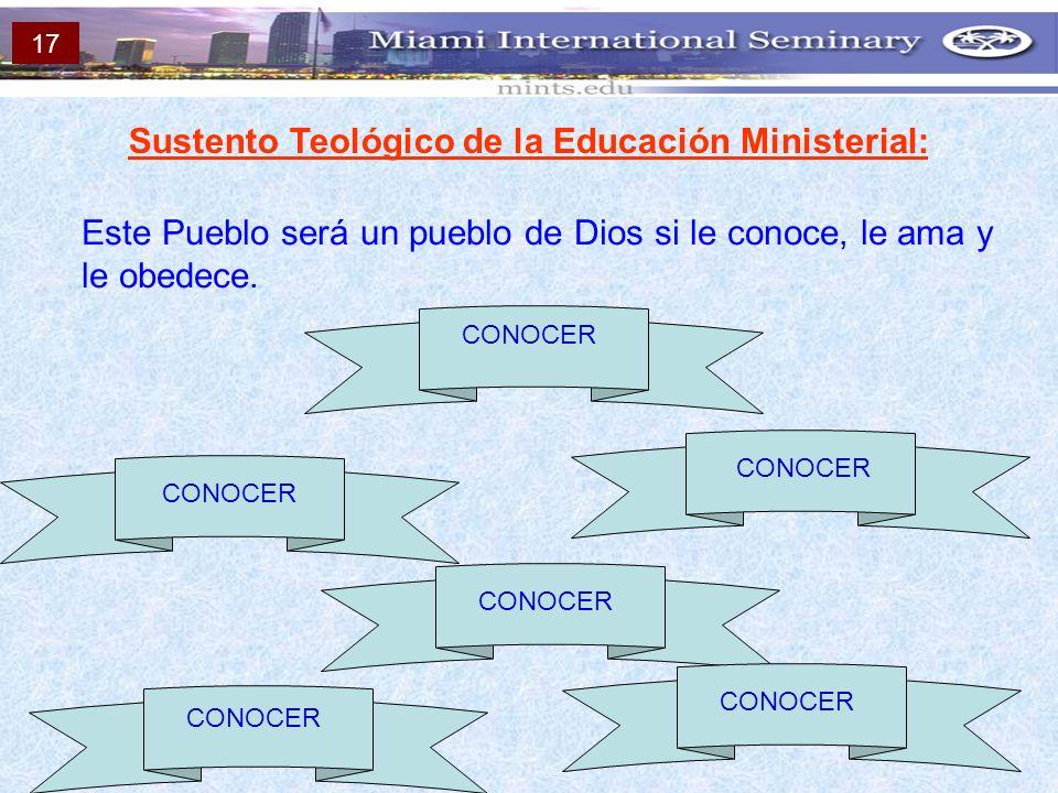 Sustento Teológico de la Educación Ministerial: Este Pueblo será un pueblo de Dios si le conoce, le ama y le obedece. CONOCER 17