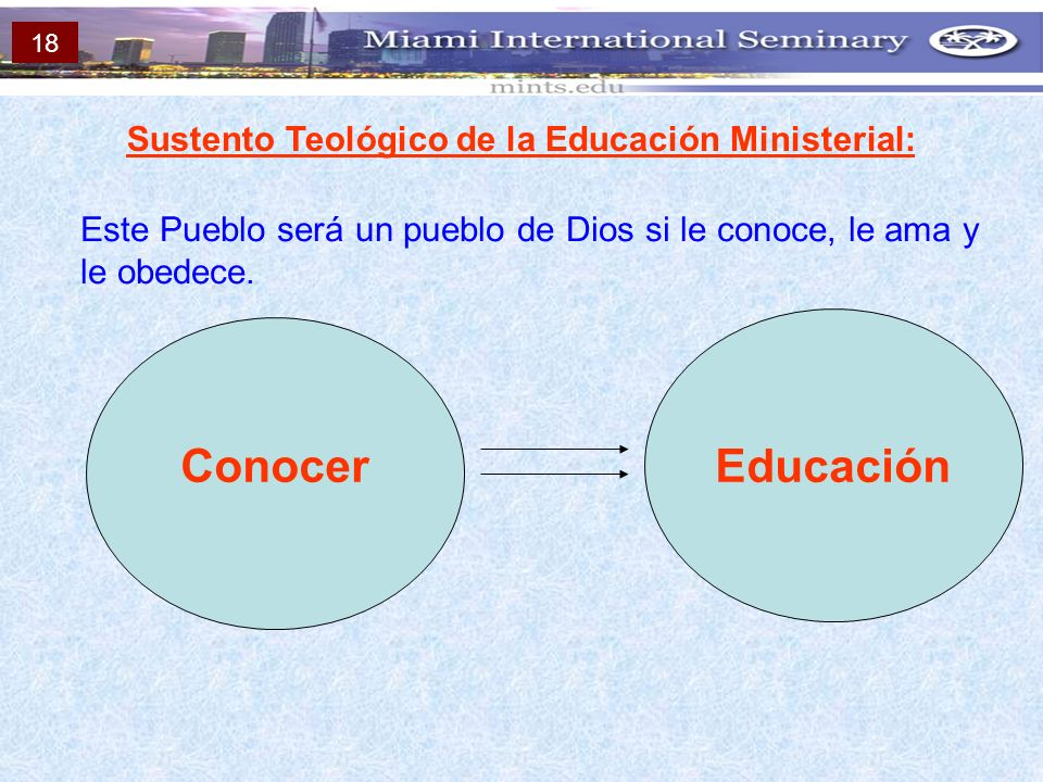 Sustento Teológico de la Educación Ministerial: Este Pueblo será un pueblo de Dios si le conoce, le ama y le obedece. ConocerEducación 18