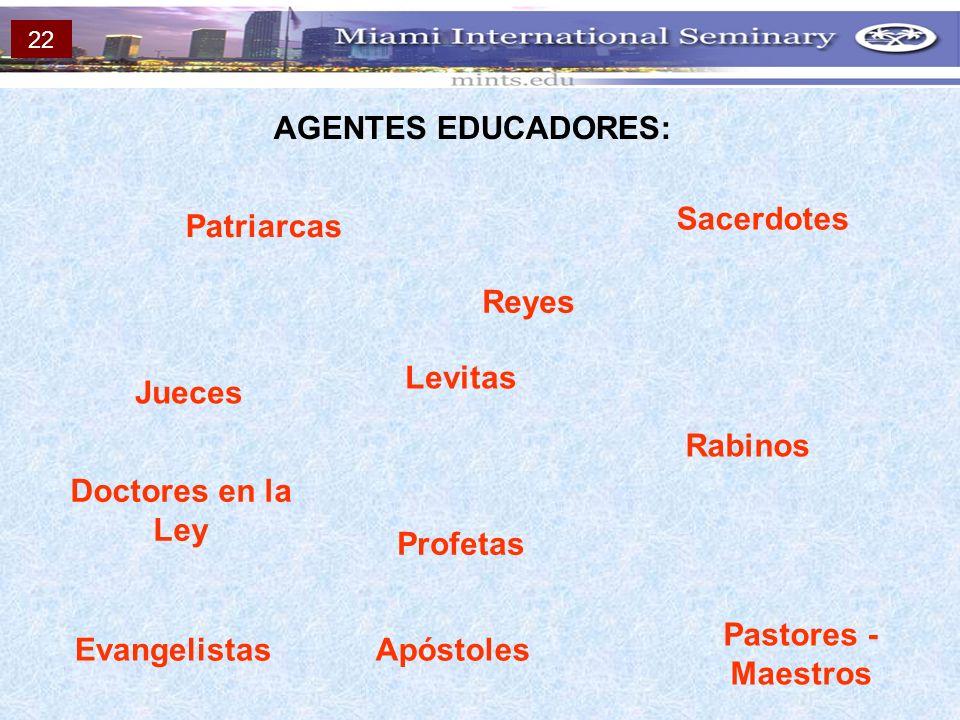 AGENTES EDUCADORES: Patriarcas Doctores en la Ley Rabinos Profetas EvangelistasApóstoles Pastores - Maestros Levitas Sacerdotes Jueces Reyes 22