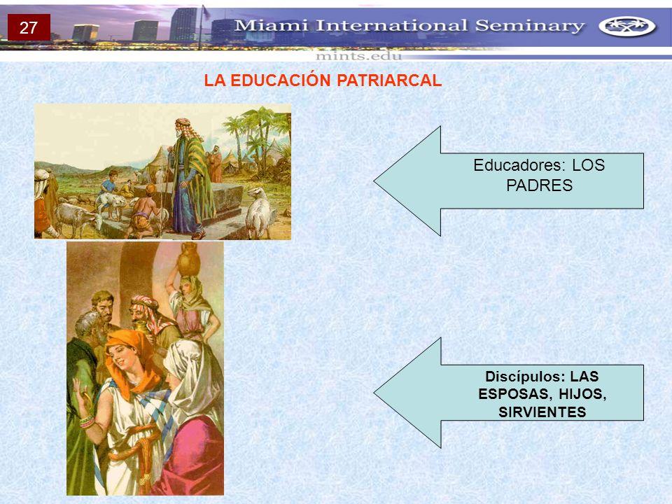LA EDUCACIÓN PATRIARCAL Educadores: LOS PADRES Discípulos: LAS ESPOSAS, HIJOS, SIRVIENTES 27