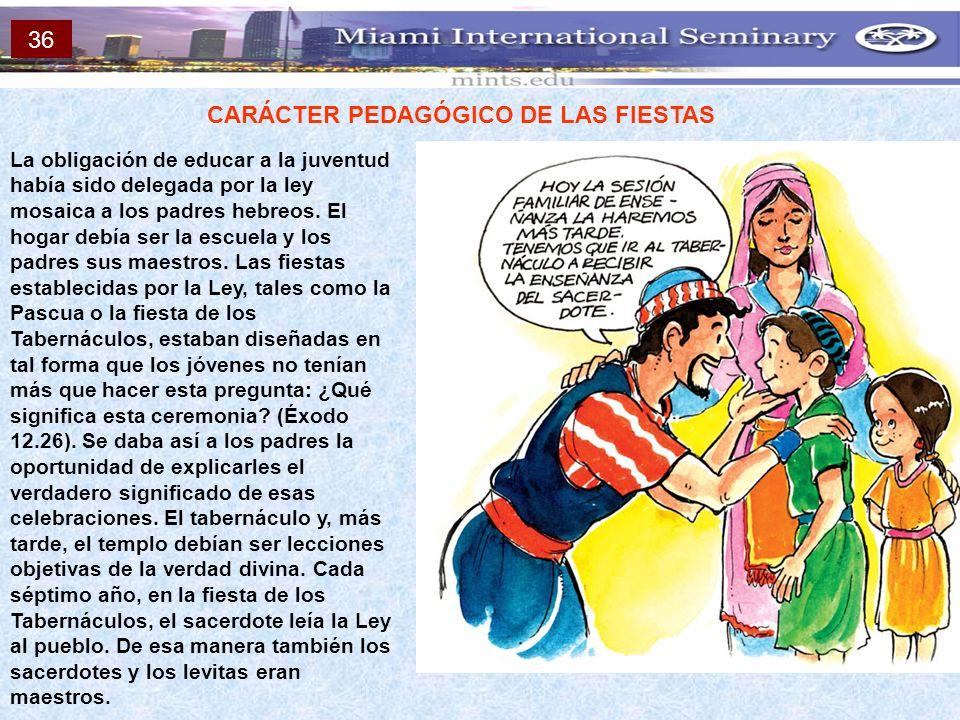 CARÁCTER PEDAGÓGICO DE LAS FIESTAS La obligación de educar a la juventud había sido delegada por la ley mosaica a los padres hebreos. El hogar debía s