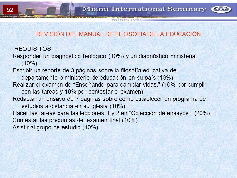REQUISITOS Responder un diagnóstico teológico (10%) y un diagnóstico ministerial (10%). Escribir un reporte de 3 páginas sobre la filosofía educativa