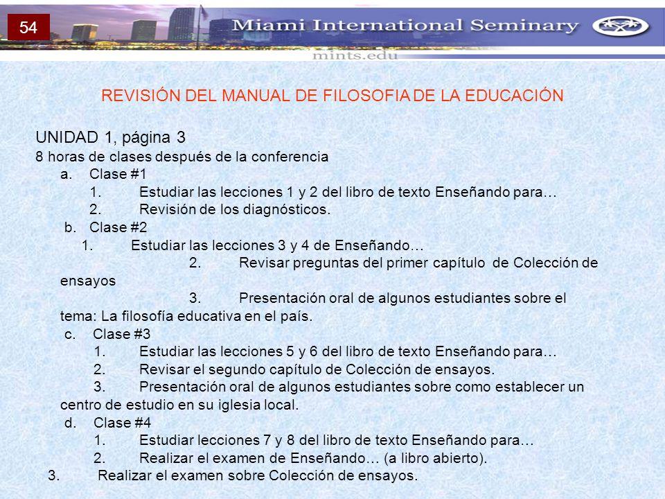 UNIDAD 1, página 3 8 horas de clases después de la conferencia a. Clase #1 1. Estudiar las lecciones 1 y 2 del libro de texto Enseñando para… 2. Revis