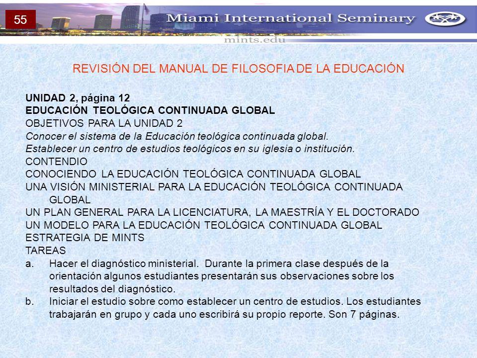 UNIDAD 2, página 12 EDUCACIÓN TEOLÓGICA CONTINUADA GLOBAL OBJETIVOS PARA LA UNIDAD 2 Conocer el sistema de la Educación teológica continuada global. E
