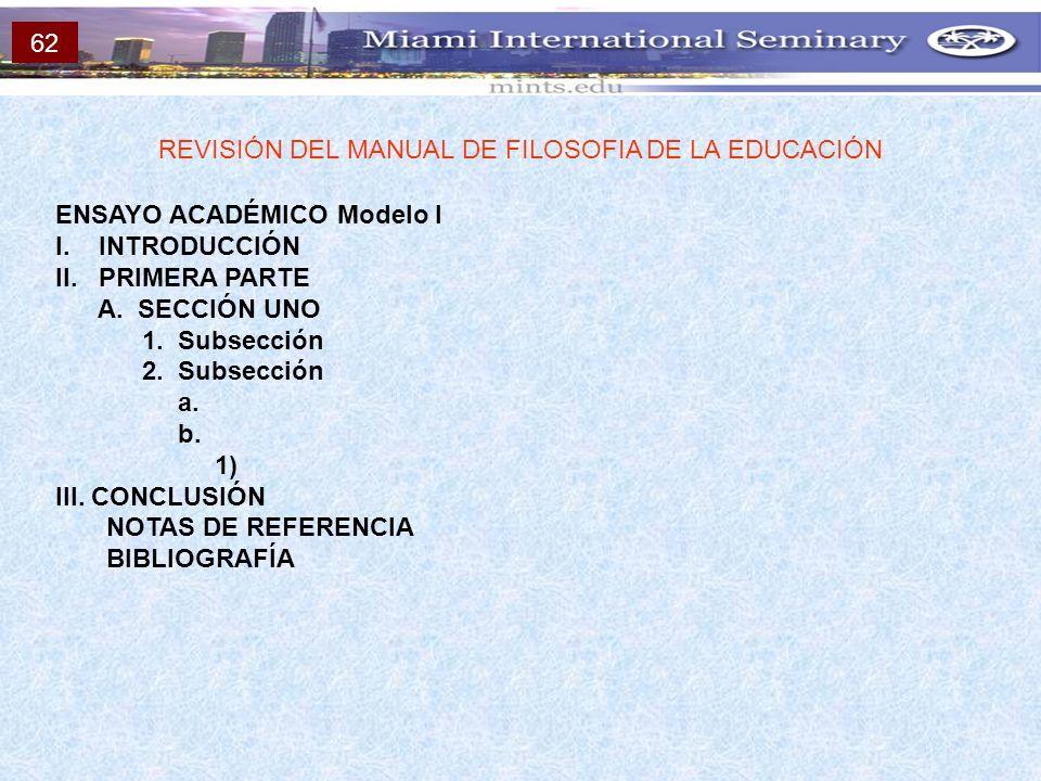 ENSAYO ACADÉMICO Modelo I I. INTRODUCCIÓN II. PRIMERA PARTE A. SECCIÓN UNO 1. Subsección 2. Subsección a. b. 1) III. CONCLUSIÓN NOTAS DE REFERENCIA BI