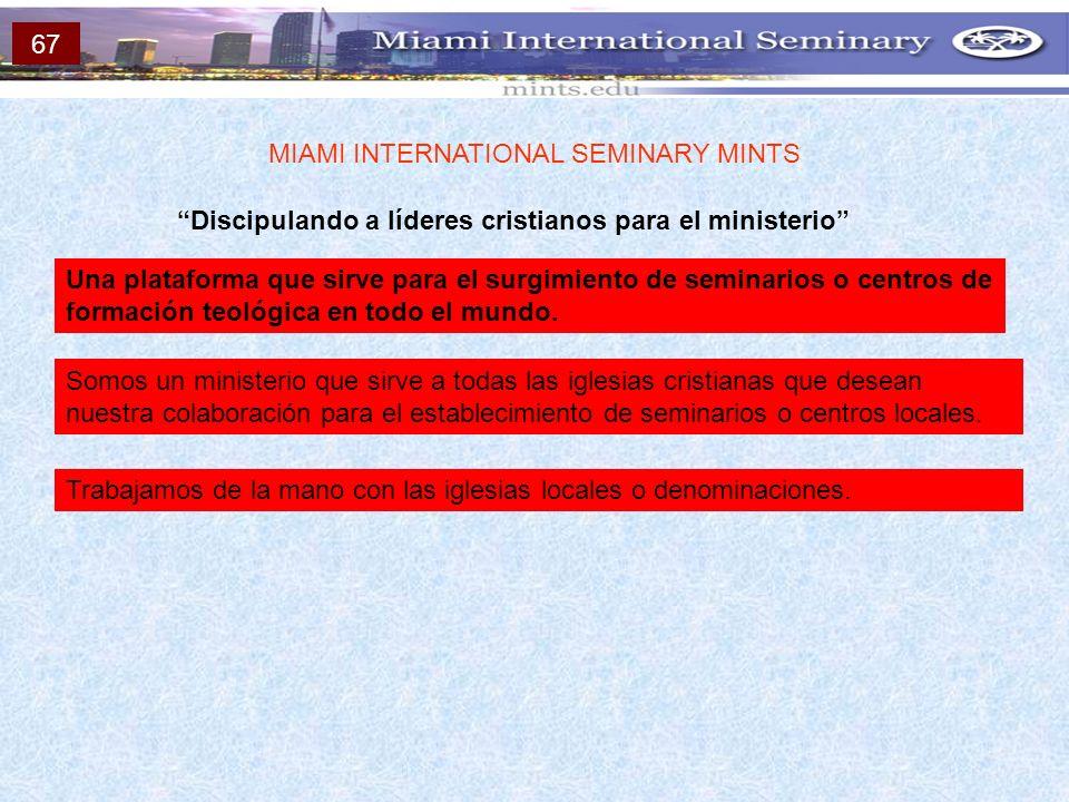 Discipulando a líderes cristianos para el ministerio MIAMI INTERNATIONAL SEMINARY MINTS Una plataforma que sirve para el surgimiento de seminarios o c