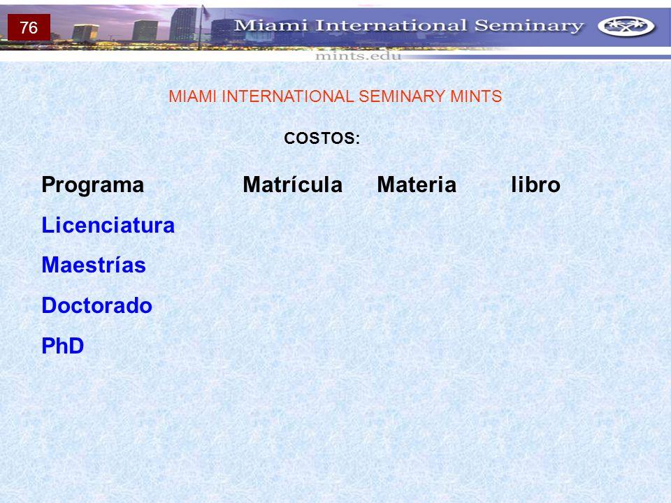 COSTOS: MIAMI INTERNATIONAL SEMINARY MINTS ProgramaMatrículaMaterialibro Licenciatura Maestrías Doctorado PhD 76