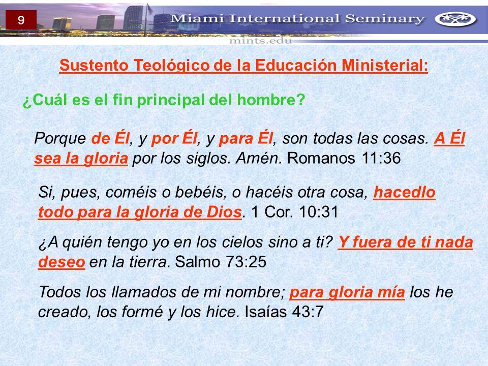 Sustento Teológico de la Educación Ministerial: ¿Cuál es el fin principal del hombre? Porque de Él, y por Él, y para Él, son todas las cosas. A Él sea