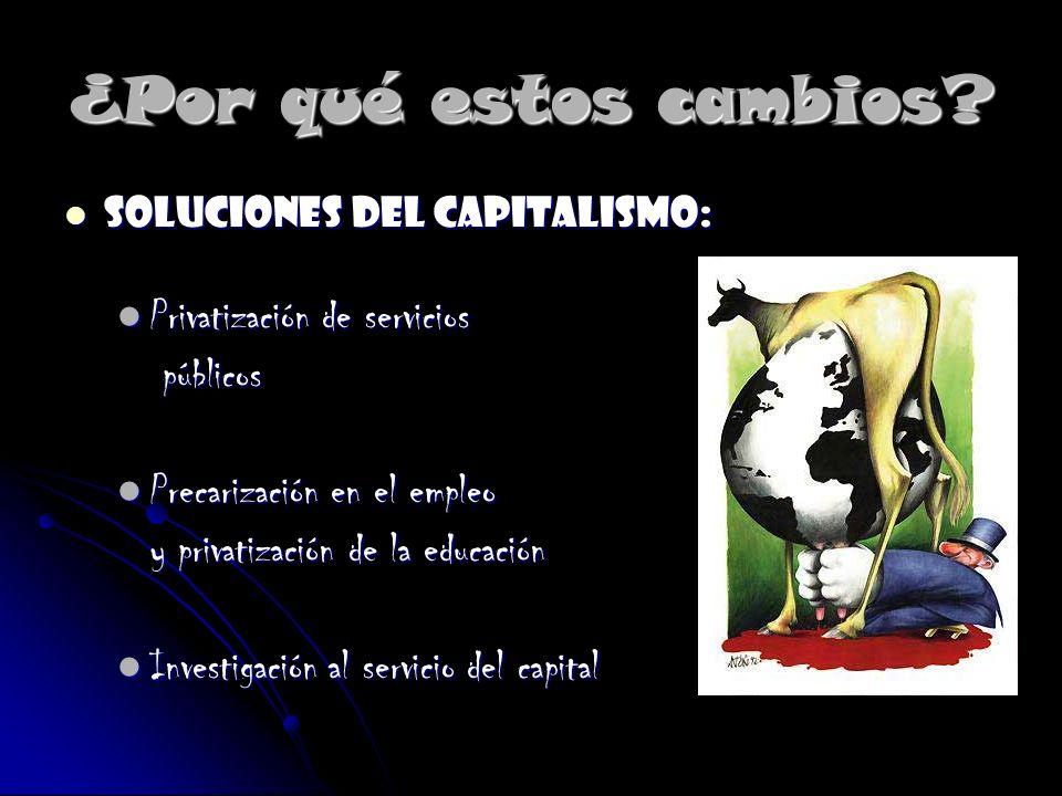 ¿Por qué estos cambios? Soluciones del capitalismo: Soluciones del capitalismo: Privatización de servicios Privatización de servicios públicos público