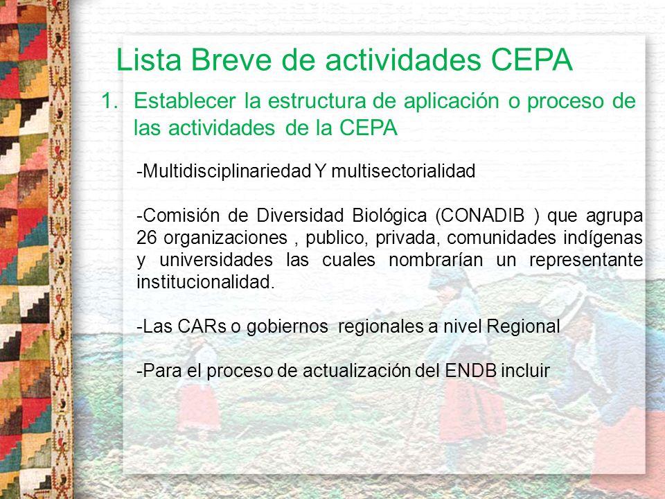6.- Organizar talleres para la articulaciòn de estrategias Nacionales de CEPA No se han realizado talleres específicamente con el tema de la CEPA.