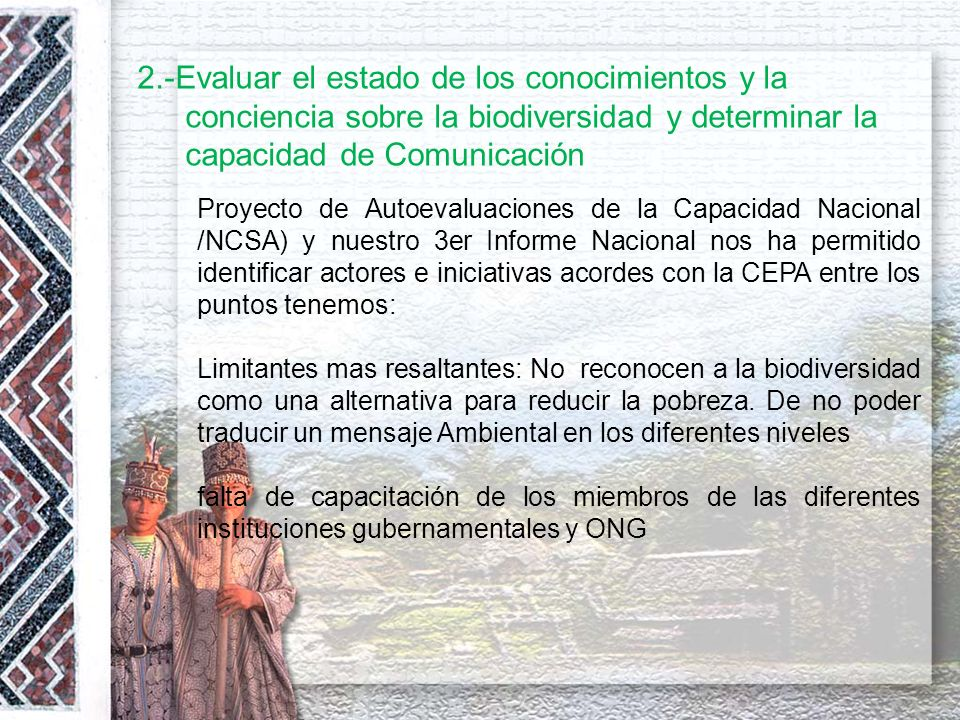 8.- El día Internacional de la Diversidad Biológica El Perú, declaró el día 22 de mayo como el Día Nacional de la Diversidad Biológica mediante el Decreto Supremo Nº 045-2002-PCM.