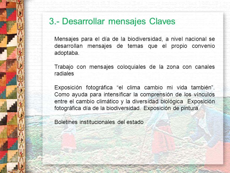 3.- Desarrollar mensajes Claves Después del Terremoto ocurrido en Pisco, materiales de educación ambiental Refuerzos de estos mensajes, se dio mediante Radio y TV.