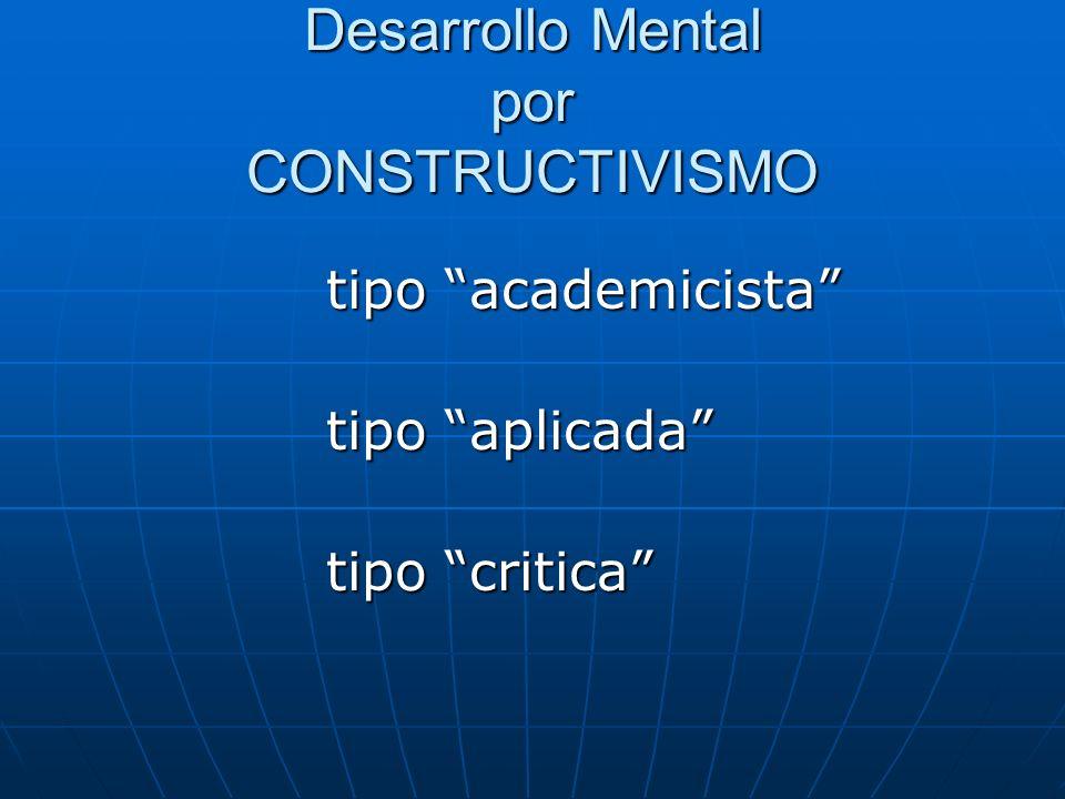 Desarrollo Mental por CONSTRUCTIVISMO tipo academicista tipo academicista tipo aplicada tipo aplicada tipo critica tipo critica