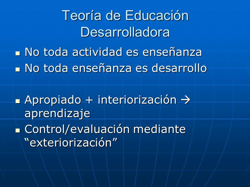 Teoría de Educación Desarrolladora No toda actividad es enseñanza No toda actividad es enseñanza No toda enseñanza es desarrollo No toda enseñanza es
