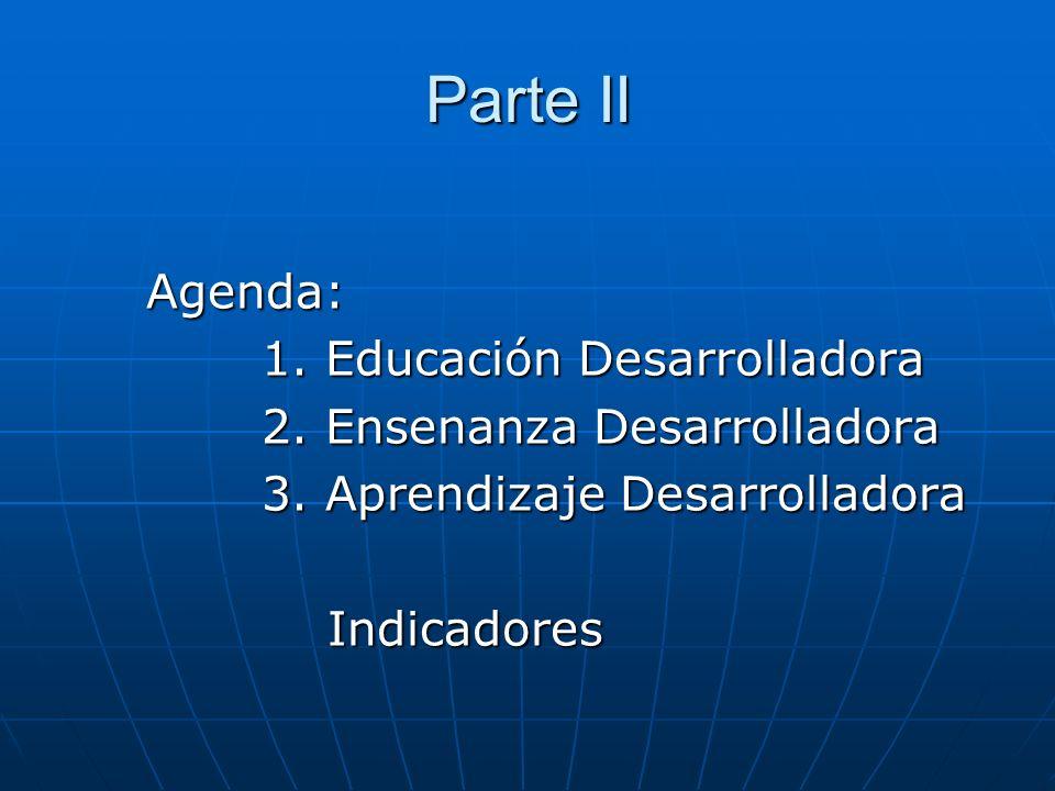 Parte II Agenda: Agenda: 1. Educación Desarrolladora 1. Educación Desarrolladora 2. Ensenanza Desarrolladora 2. Ensenanza Desarrolladora 3. Aprendizaj