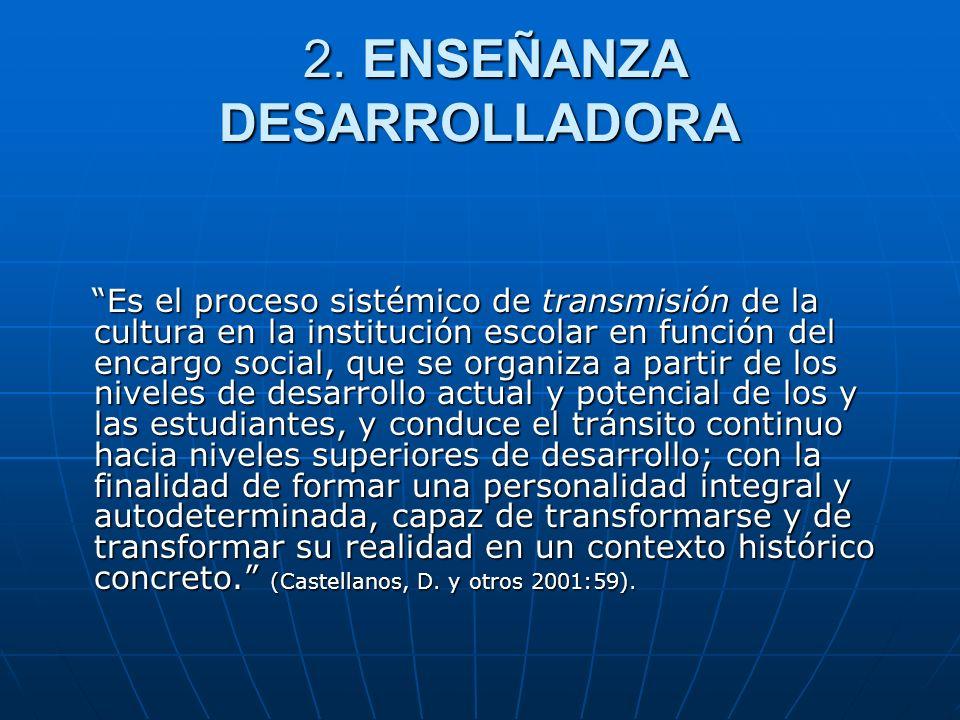 2. ENSEÑANZA DESARROLLADORA 2. ENSEÑANZA DESARROLLADORA Es el proceso sistémico de transmisión de la cultura en la institución escolar en función del