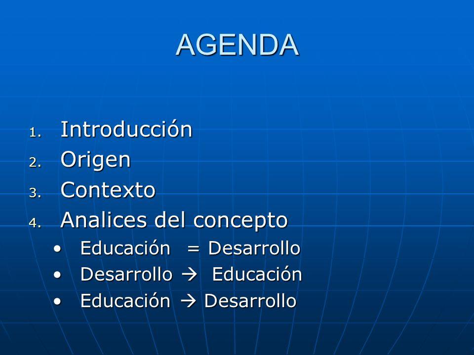 AGENDA 1. Introducción 2. Origen 3. Contexto 4. Analices del concepto Educación = DesarrolloEducación = Desarrollo Desarrollo EducaciónDesarrollo Educ