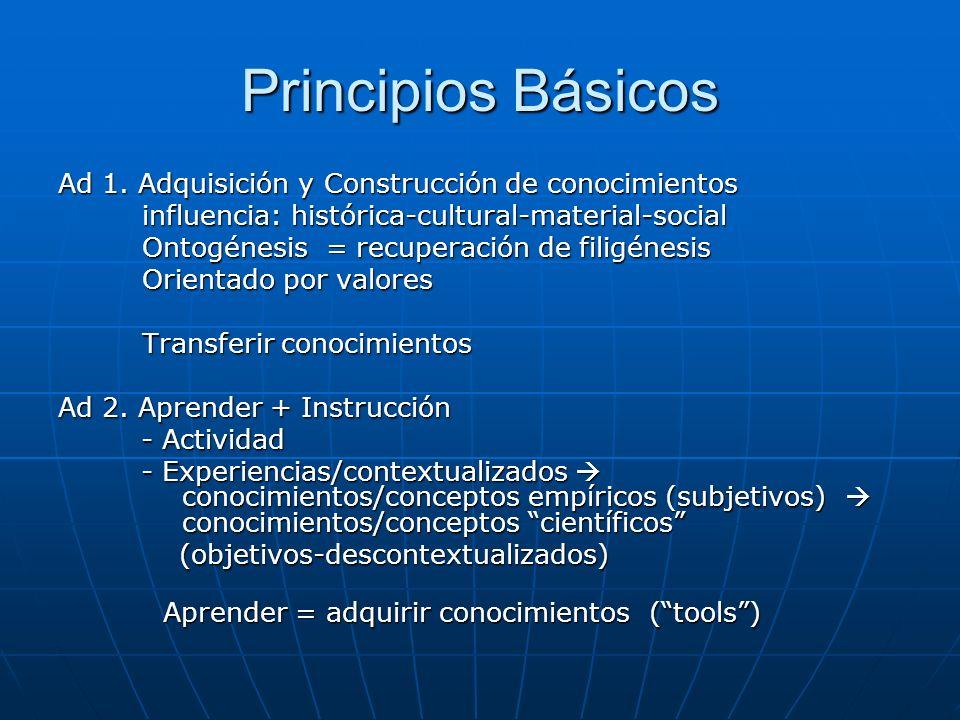 Principios Básicos Ad 1. Adquisición y Construcción de conocimientos influencia: histórica-cultural-material-social influencia: histórica-cultural-mat