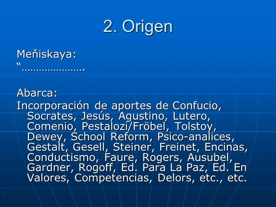 2. Origen Meňiskaya: ………………….Abarca: Incorporación de aportes de Confucio, Socrates, Jesús, Agustino, Lutero, Comenio, Pestalozi/Fröbel, Tolstoy, Dewe