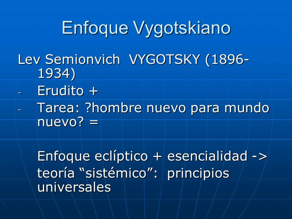 Enfoque Vygotskiano Lev Semionvich VYGOTSKY (1896- 1934) - Erudito + - Tarea: ?hombre nuevo para mundo nuevo? = Enfoque eclíptico + esencialidad -> te