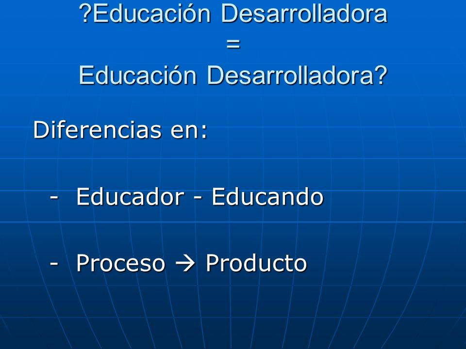 ?Educación Desarrolladora = Educación Desarrolladora? Diferencias en: - Educador - Educando - Educador - Educando - Proceso Producto - Proceso Product
