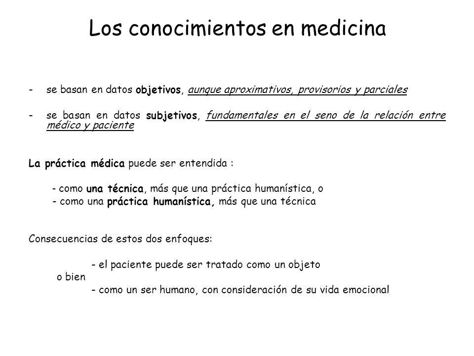 Los conocimientos en medicina -se basan en datos objetivos, aunque aproximativos, provisorios y parciales -se basan en datos subjetivos, fundamentales