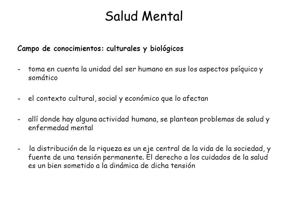 Salud Mental Campo de conocimientos: culturales y biológicos -toma en cuenta la unidad del ser humano en sus los aspectos psíquico y somático -el cont
