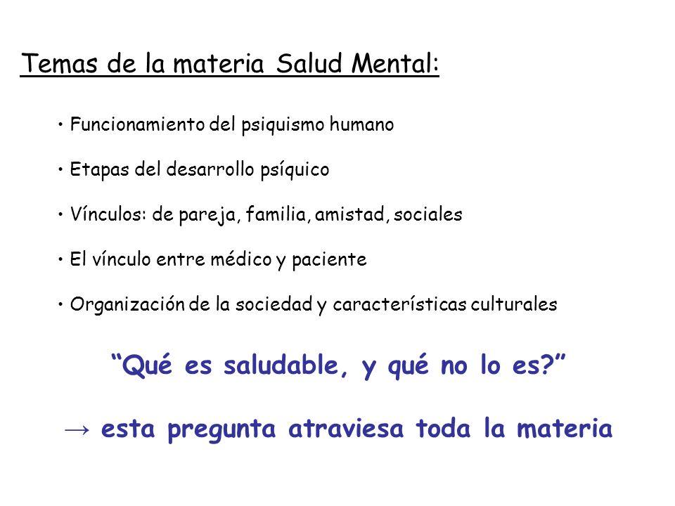 Qué es saludable, y qué no lo es? esta pregunta atraviesa toda la materia Temas de la materia Salud Mental: Funcionamiento del psiquismo humano Etapas