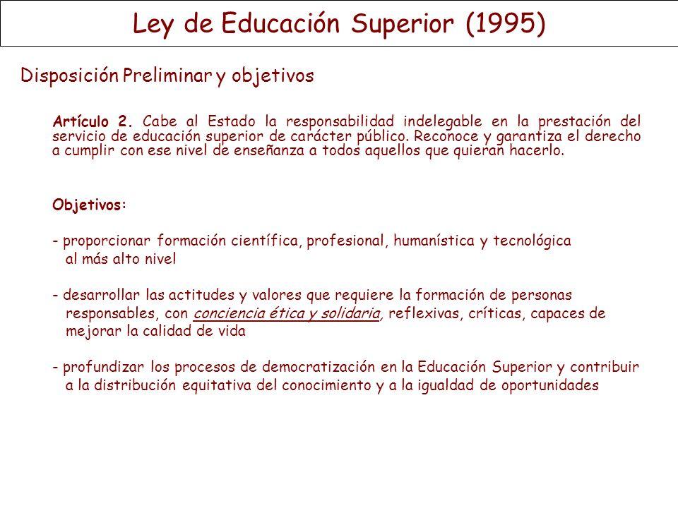 Disposición Preliminar y objetivos Artículo 2. Cabe al Estado la responsabilidad indelegable en la prestación del servicio de educación superior de ca