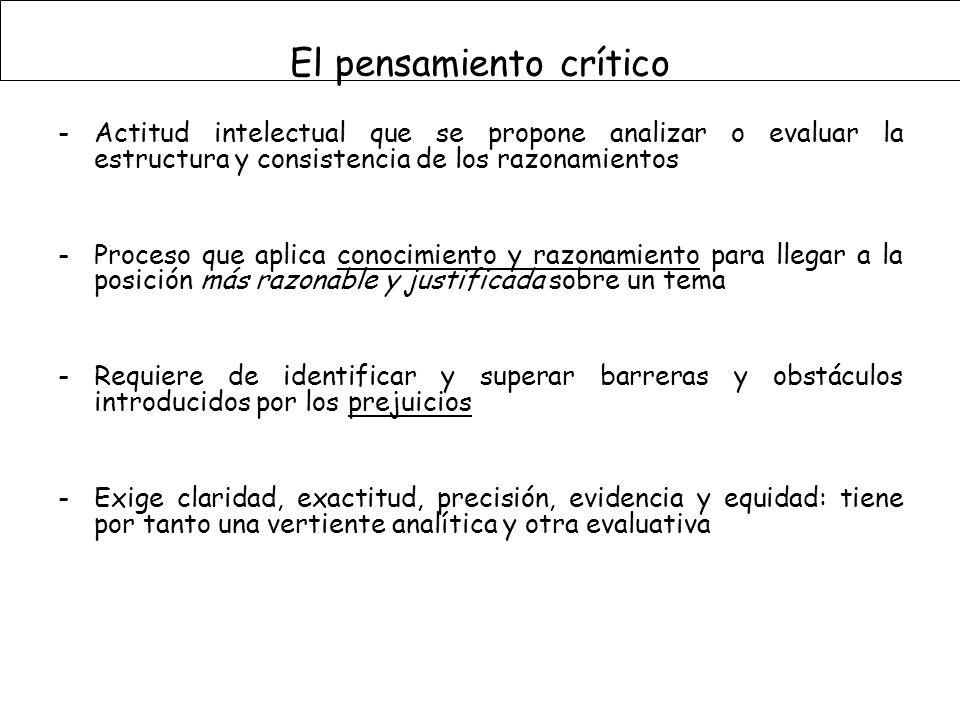 -Actitud intelectual que se propone analizar o evaluar la estructura y consistencia de los razonamientos -Proceso que aplica conocimiento y razonamien