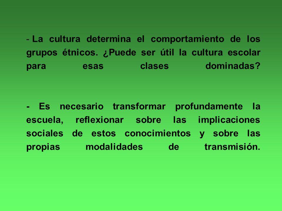 - La cultura determina el comportamiento de los grupos étnicos.