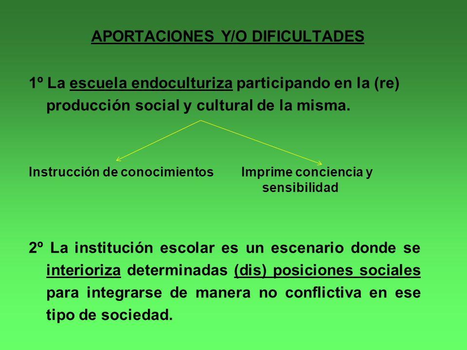 APORTACIONES Y/O DIFICULTADES 1º La escuela endoculturiza participando en la (re) producción social y cultural de la misma.