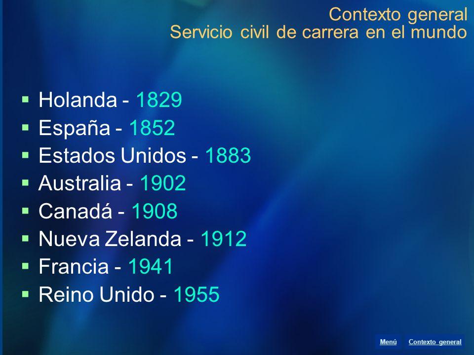 Contexto general Servicio civil de carrera en el mundo Holanda - 1829 España - 1852 Estados Unidos - 1883 Australia - 1902 Canadá - 1908 Nueva Zelanda