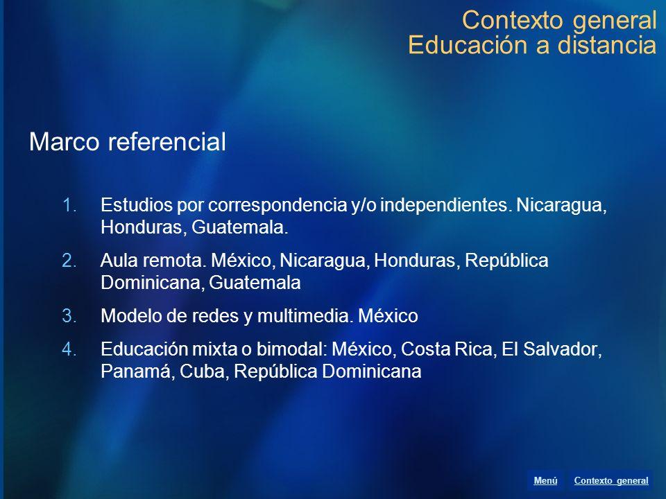Contexto general Educación a distancia Marco referencial 1.Estudios por correspondencia y/o independientes. Nicaragua, Honduras, Guatemala. 2.Aula rem