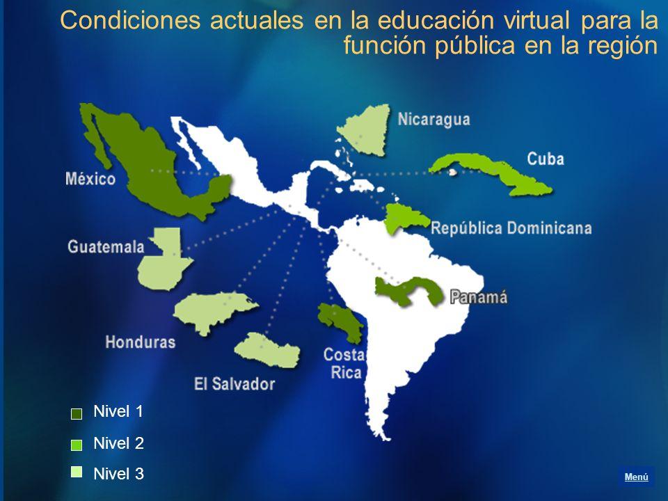 Condiciones actuales en la educación virtual para la función pública en la región Menú Nivel 1 Nivel 2 Nivel 3