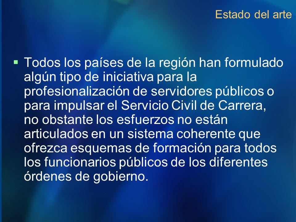 Estado del arte Todos los países de la región han formulado algún tipo de iniciativa para la profesionalización de servidores públicos o para impulsar