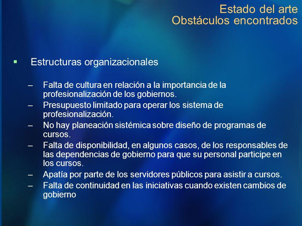 Estado del arte Obstáculos encontrados Estructuras organizacionales –Falta de cultura en relación a la importancia de la profesionalización de los gob