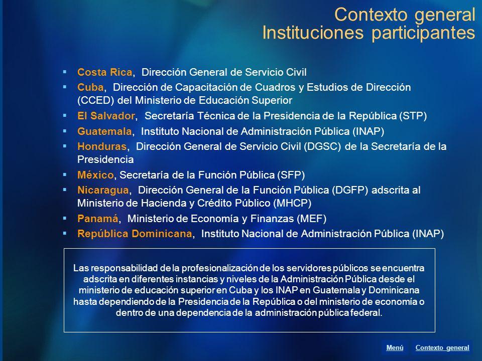 Contexto general Instituciones participantes Costa Rica, Dirección General de Servicio Civil Cuba, Dirección de Capacitación de Cuadros y Estudios de