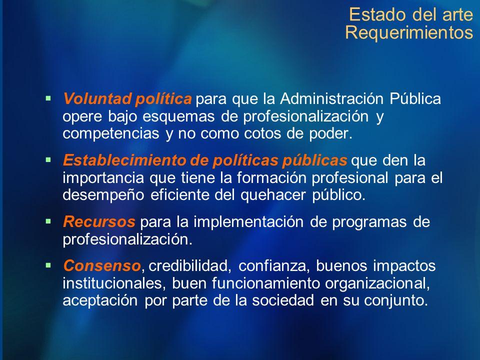 Estado del arte Requerimientos Voluntad política para que la Administración Pública opere bajo esquemas de profesionalización y competencias y no como