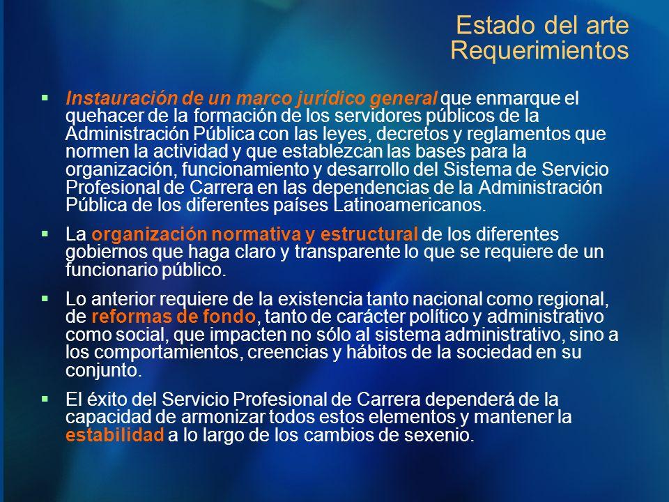Estado del arte Requerimientos Instauración de un marco jurídico general que enmarque el quehacer de la formación de los servidores públicos de la Adm