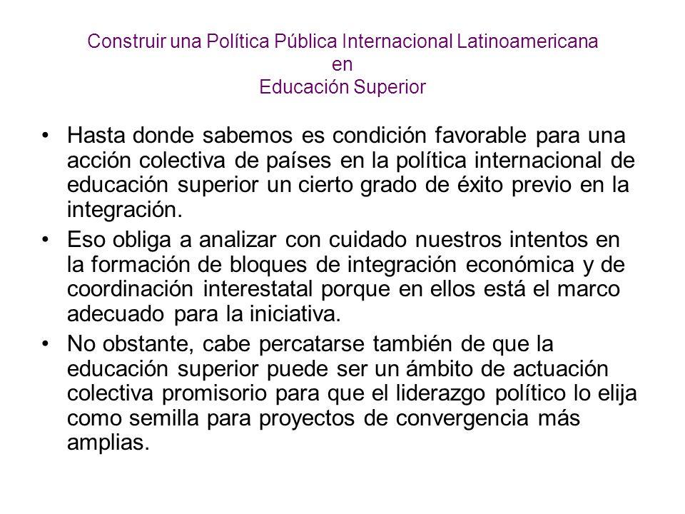 Construir una Política Pública Internacional Latinoamericana en Educación Superior Hasta donde sabemos es condición favorable para una acción colectiva de países en la política internacional de educación superior un cierto grado de éxito previo en la integración.