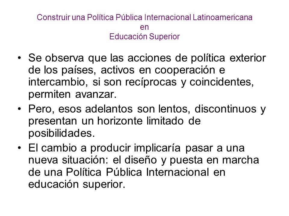Construir una Política Pública Internacional Latinoamericana en Educación Superior Se observa que las acciones de política exterior de los países, activos en cooperación e intercambio, si son recíprocas y coincidentes, permiten avanzar.