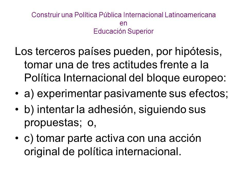 Construir una Política Pública Internacional Latinoamericana en Educación Superior Un temperamento responsable y progresista implica que los latinoamericanos estudiemos a conciencia la tercera variante para explorar su viabilidad.