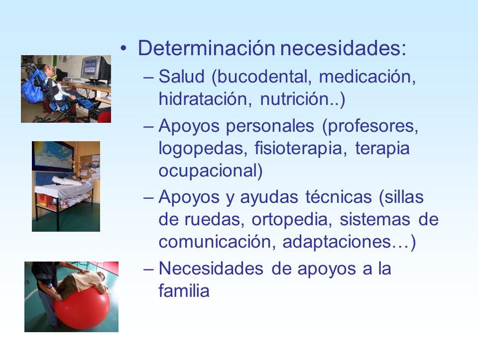 Determinación necesidades: –Salud (bucodental, medicación, hidratación, nutrición..) –Apoyos personales (profesores, logopedas, fisioterapia, terapia