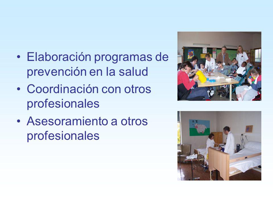 Elaboración programas de prevención en la salud Coordinación con otros profesionales Asesoramiento a otros profesionales
