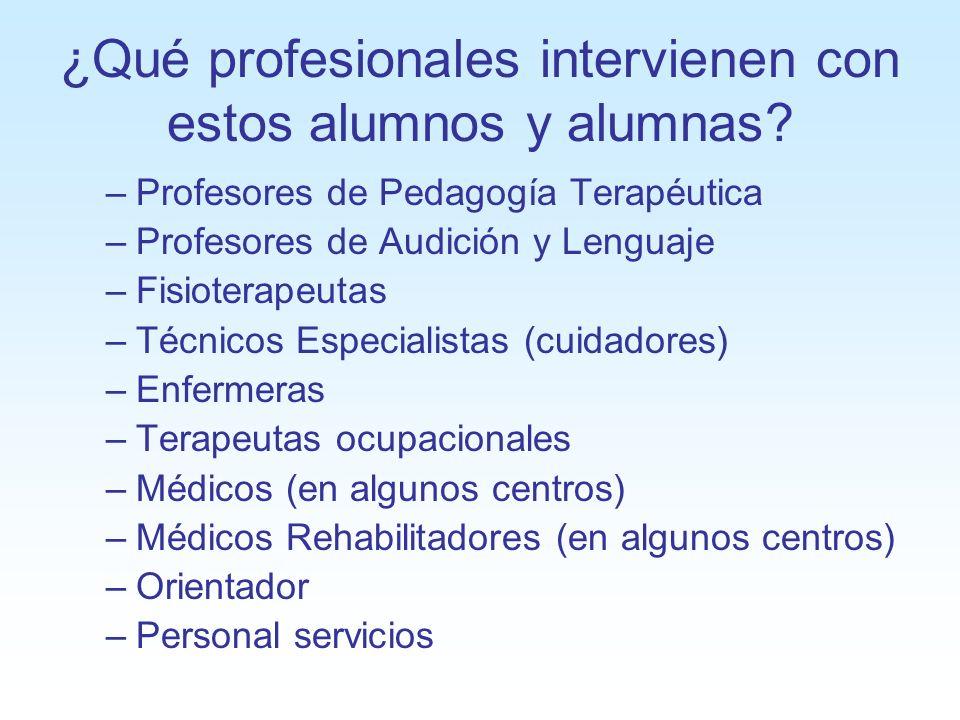 ¿Qué profesionales intervienen con estos alumnos y alumnas? –Profesores de Pedagogía Terapéutica –Profesores de Audición y Lenguaje –Fisioterapeutas –