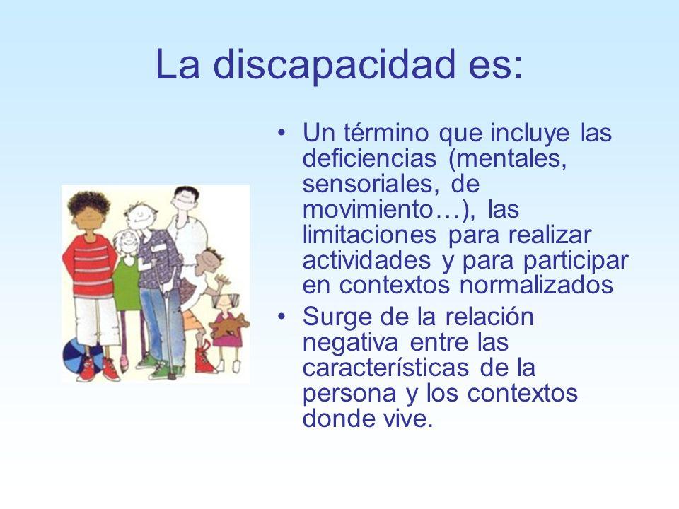 La discapacidad es: Un término que incluye las deficiencias (mentales, sensoriales, de movimiento…), las limitaciones para realizar actividades y para