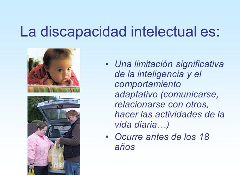 La discapacidad intelectual es: Una limitación significativa de la inteligencia y el comportamiento adaptativo (comunicarse, relacionarse con otros, h