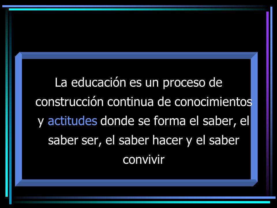La educación es un proceso de construcción continua de conocimientos y actitudes donde se forma el saber, el saber ser, el saber hacer y el saber conv